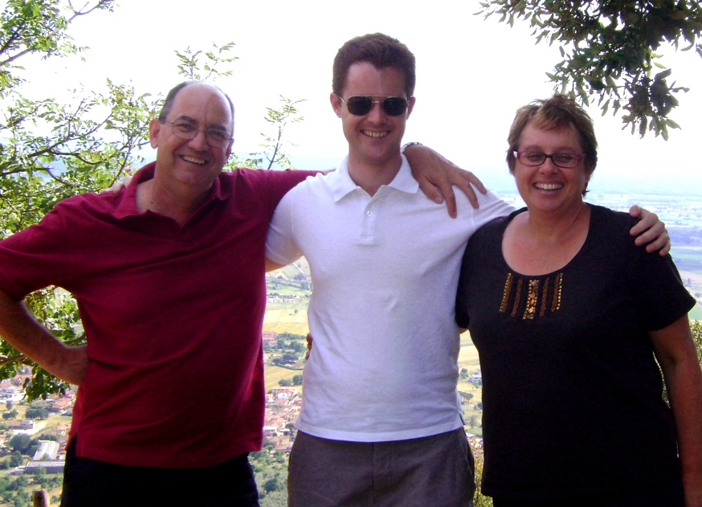 Dave with his dad and mum when we met up with them travelling through Italy