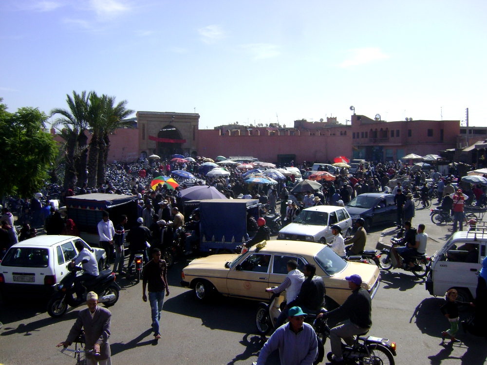 Marrakech's city walls have stood for centuries - the only way in or out is through one of the gates and it's always rush hour