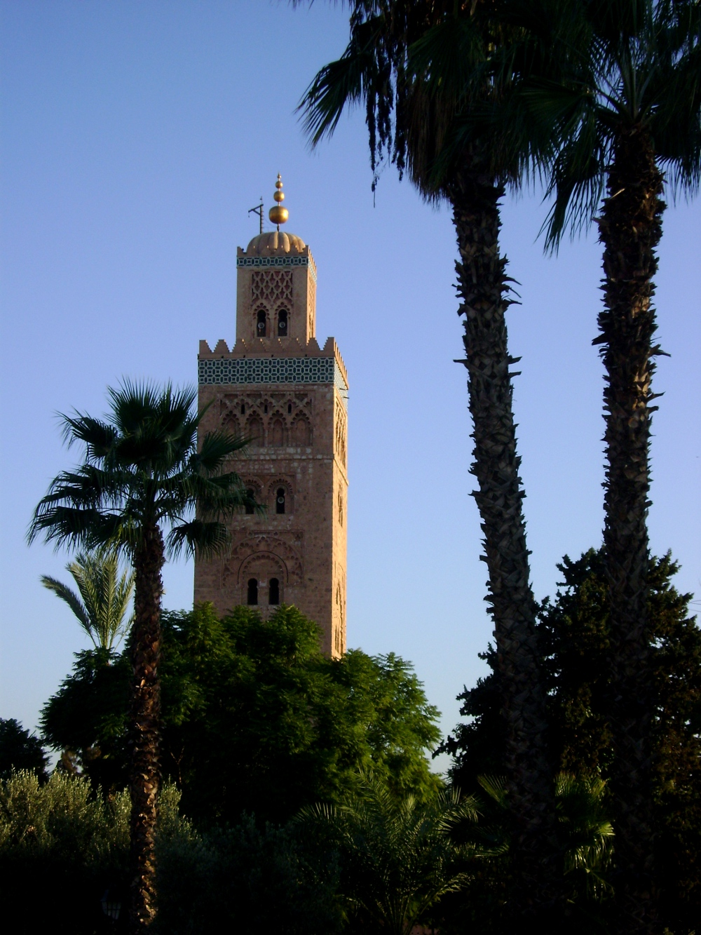 The Koutoubia Mosque's minaret tower stands above everything
