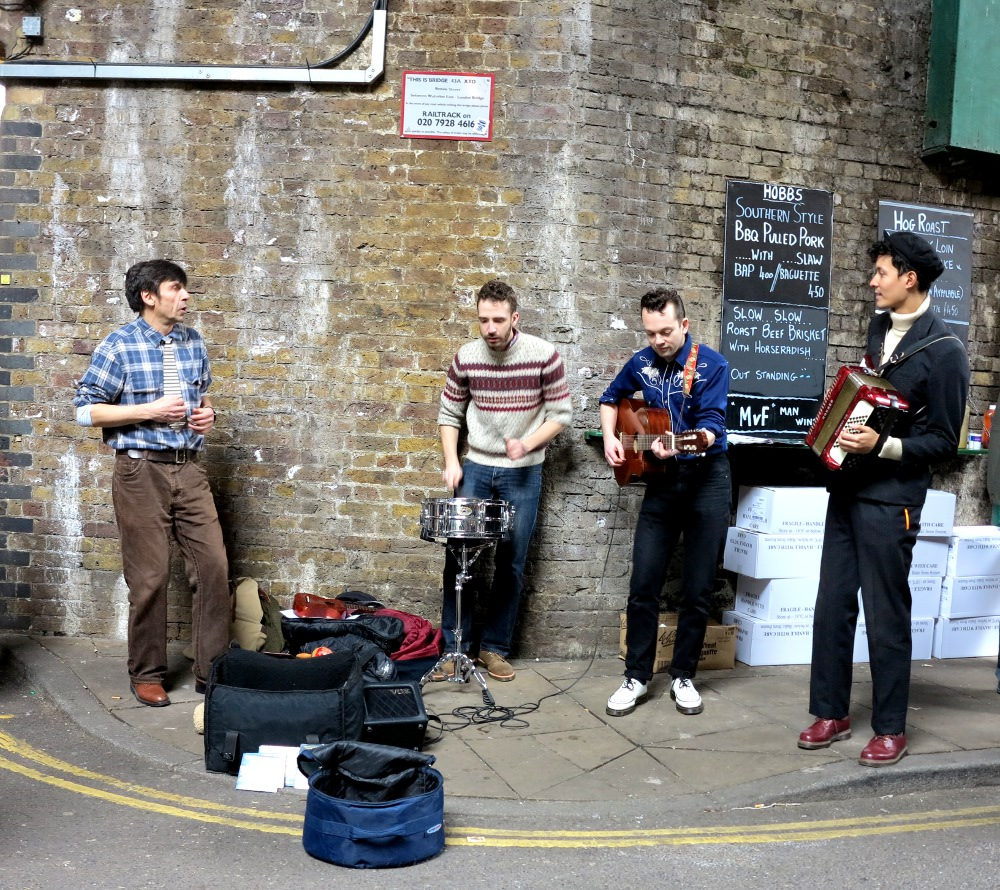 A band playing at Borough Market Double-Barrelled Travel