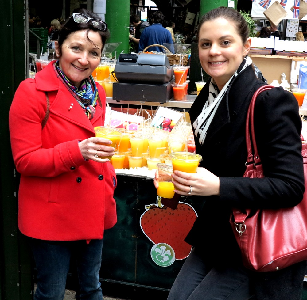 Drinking juice at the Borough Market Double-Barrelled Travel
