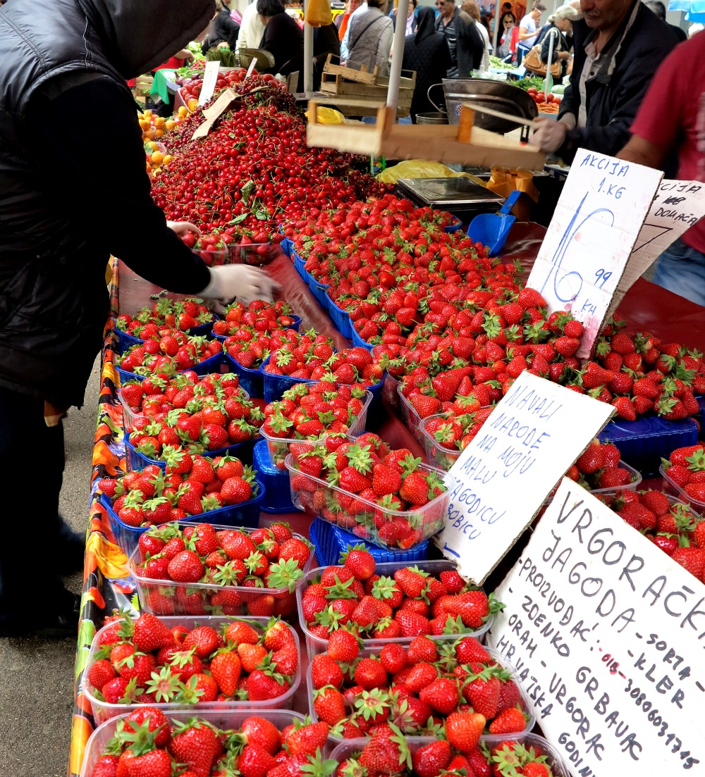 Strawberries for sale at Split's green market