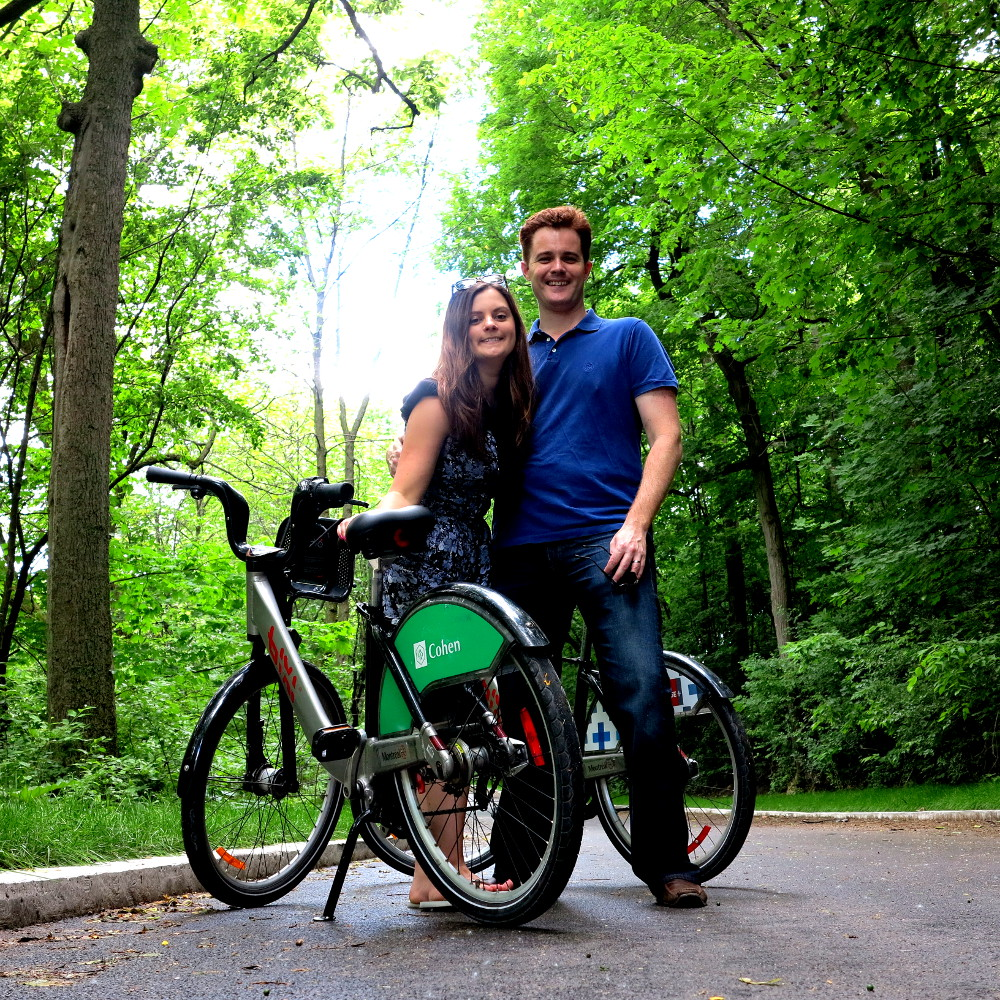 Carmen and Dave bike riding in Montreal Double-Barrelled Travel