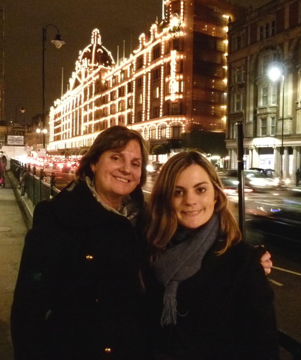 Carmen and Vanessa outside of Harrods Double-Barrelled Travel
