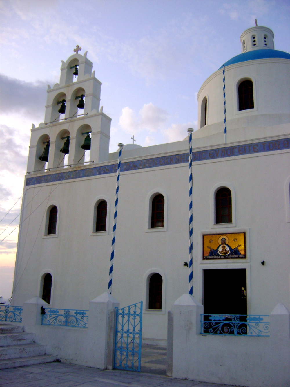 santorini church street scene Double-Barrelled Travel