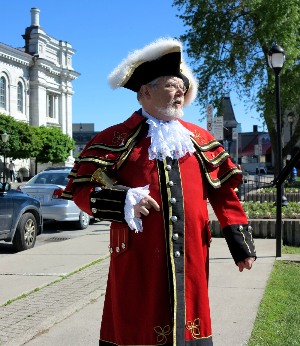 Chris Whyman, Kingston's Town Crier in full regalia - he's hard to miss!