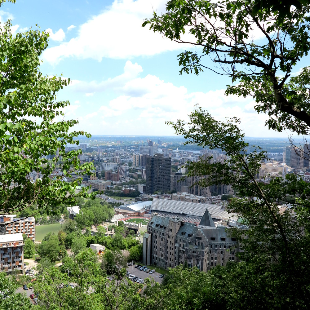 view over Montreal from Mont Royal in Montreal Double-Barrelled Travel