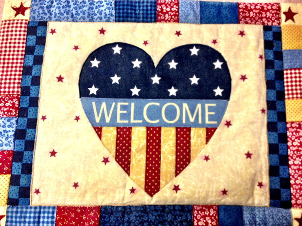 American flag welcome placemats Double-Barrelled Travel