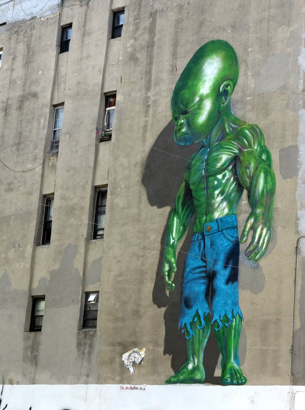 Baby hulk street art in  New York City Double-Barrelled Travel