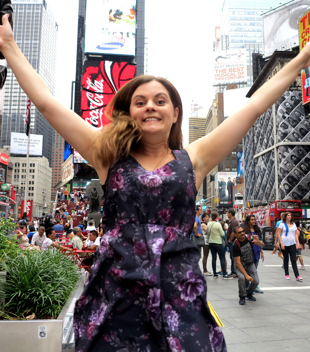Carmen jumping in Times Square  New York City Double-Barrelled Travel