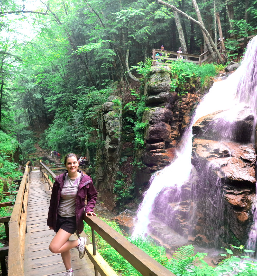 Carmen on the boardwalk at The Flume in New Hampshire Double-Barrelled Travel