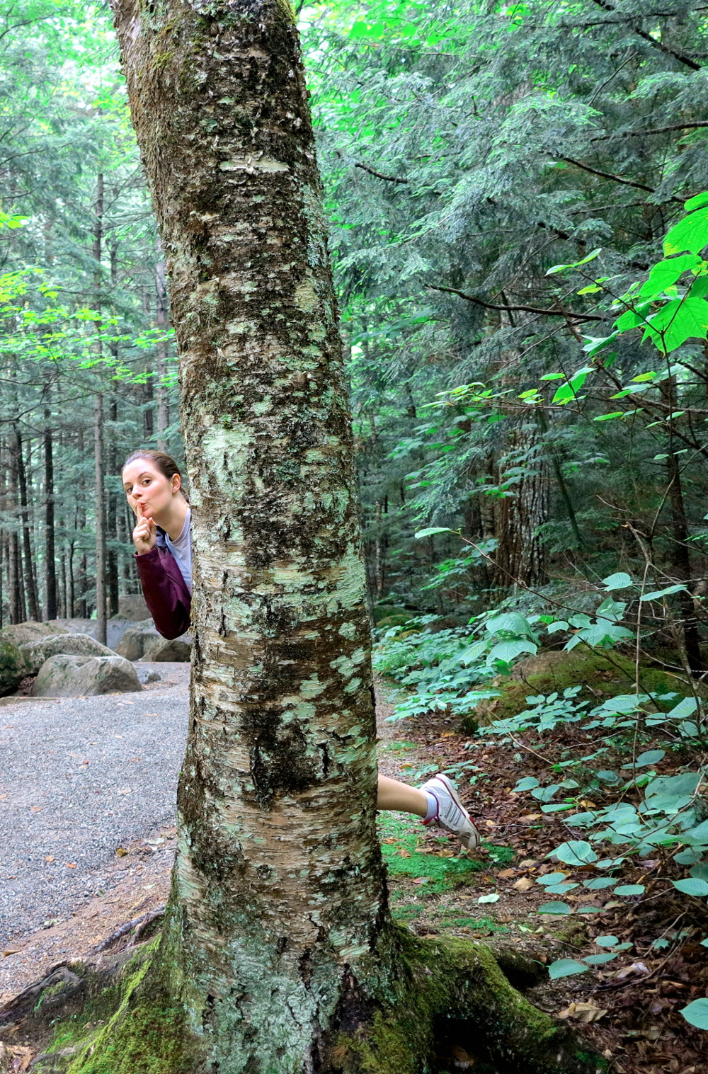 Carmen on the walking trail at The Flume in New Hampshire Double-Barrelled Travel