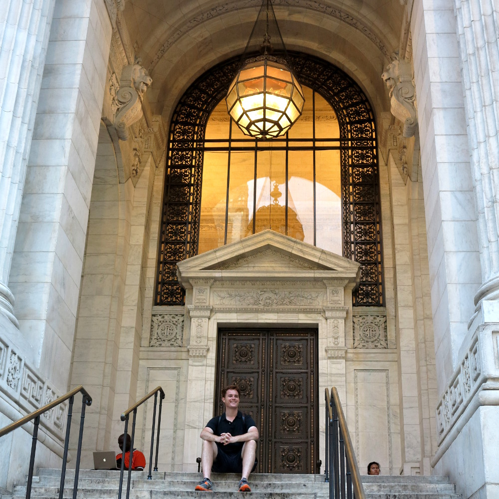 Dave at the New York City library New York City Double-Barrelled Travel