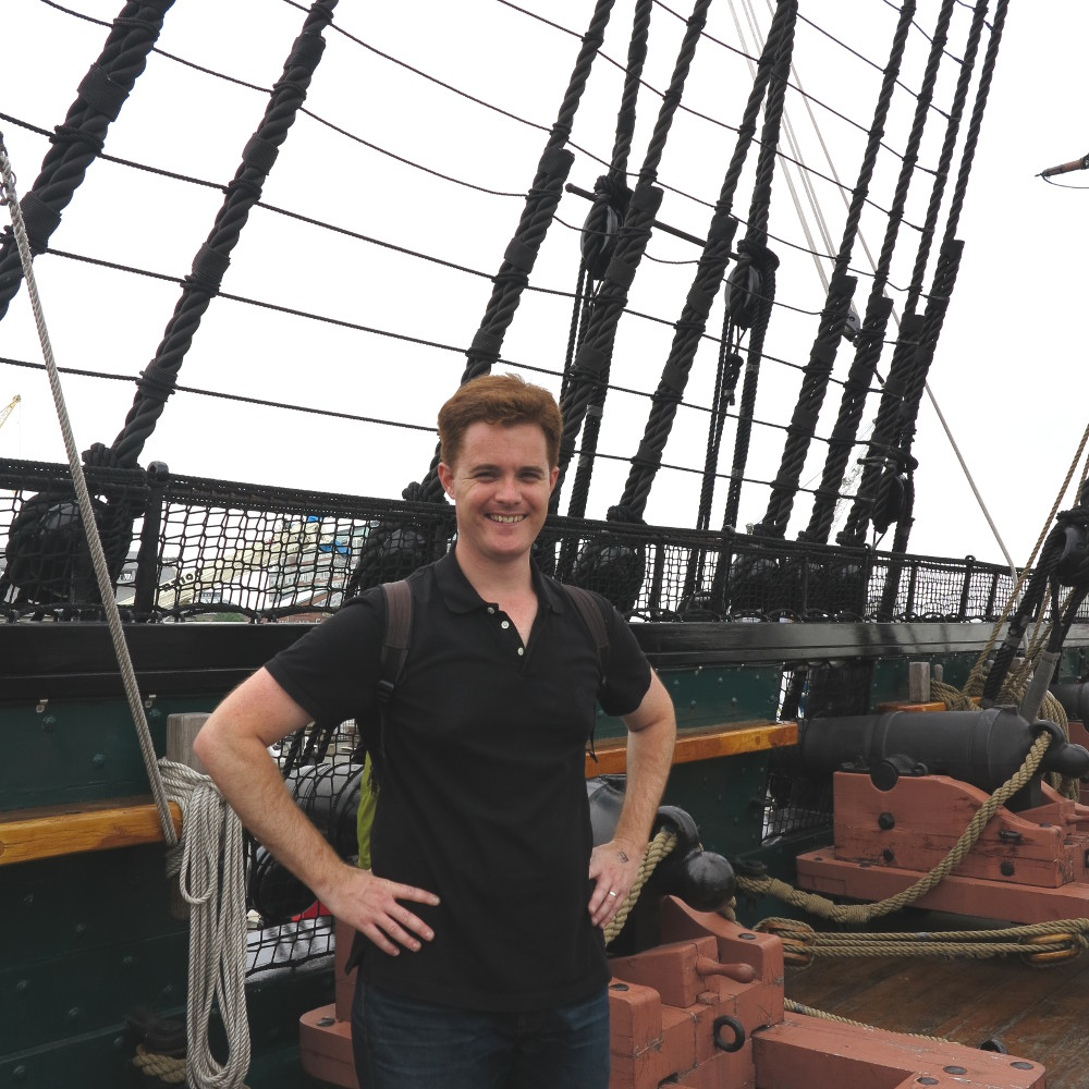 Dave on the USS Constitution on the Boston Freedom Trail Double-Barrelled Travel