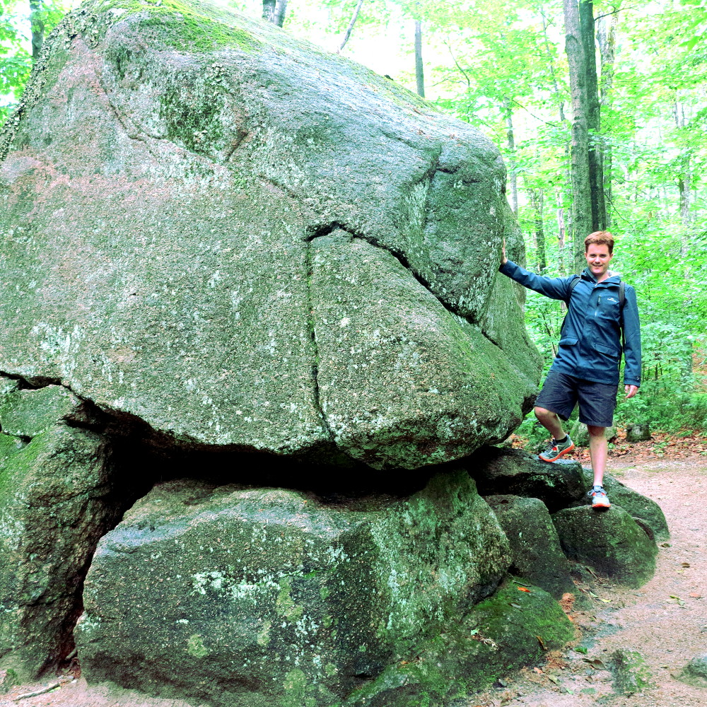 Dave with a boulder at The Flume in New Hampshire Double-Barrelled Travel