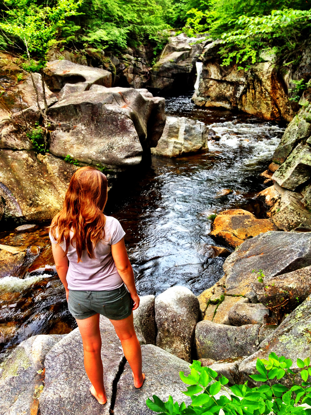 Exploring waterfalls near Woodstock New Hampshire Double-Barrelled Travel