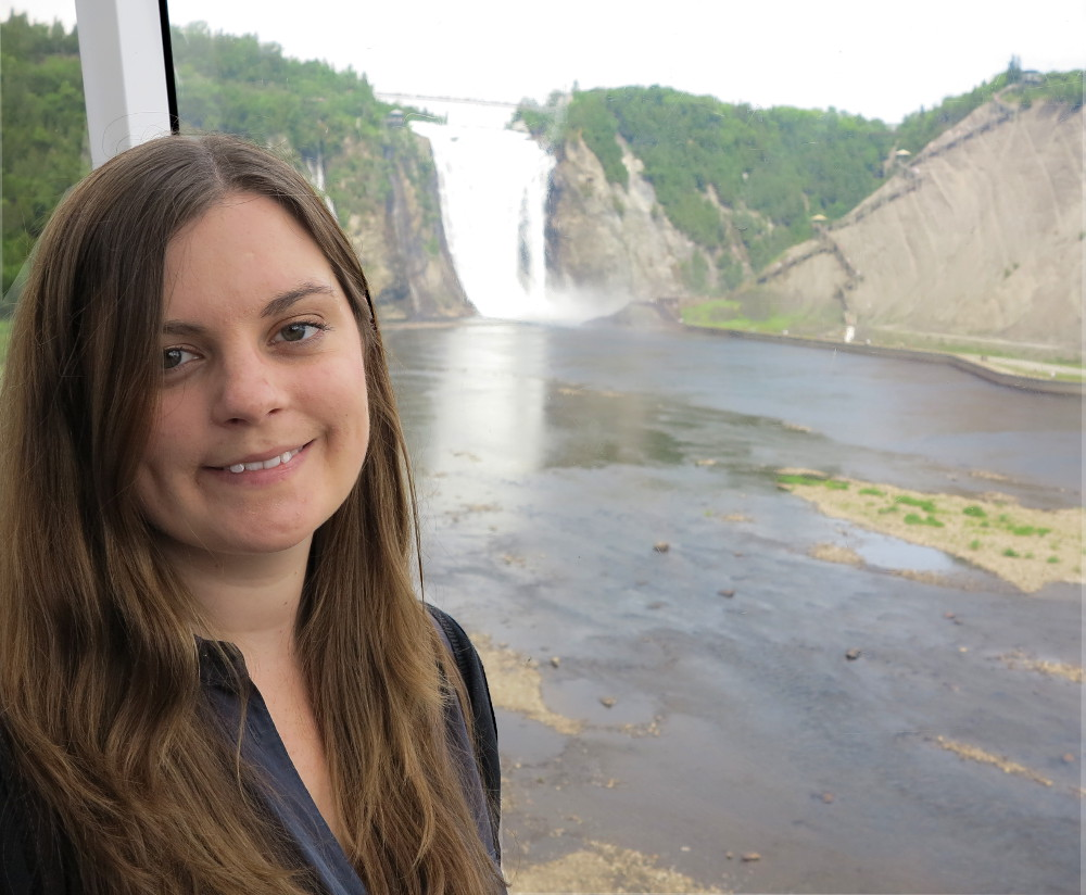 carmen with Montmorency Falls in the background double-barrelled travel