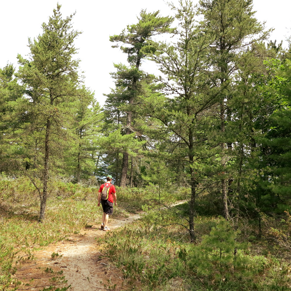 Dave hiking in a remote area in Michigan Double-Barrelled Travel