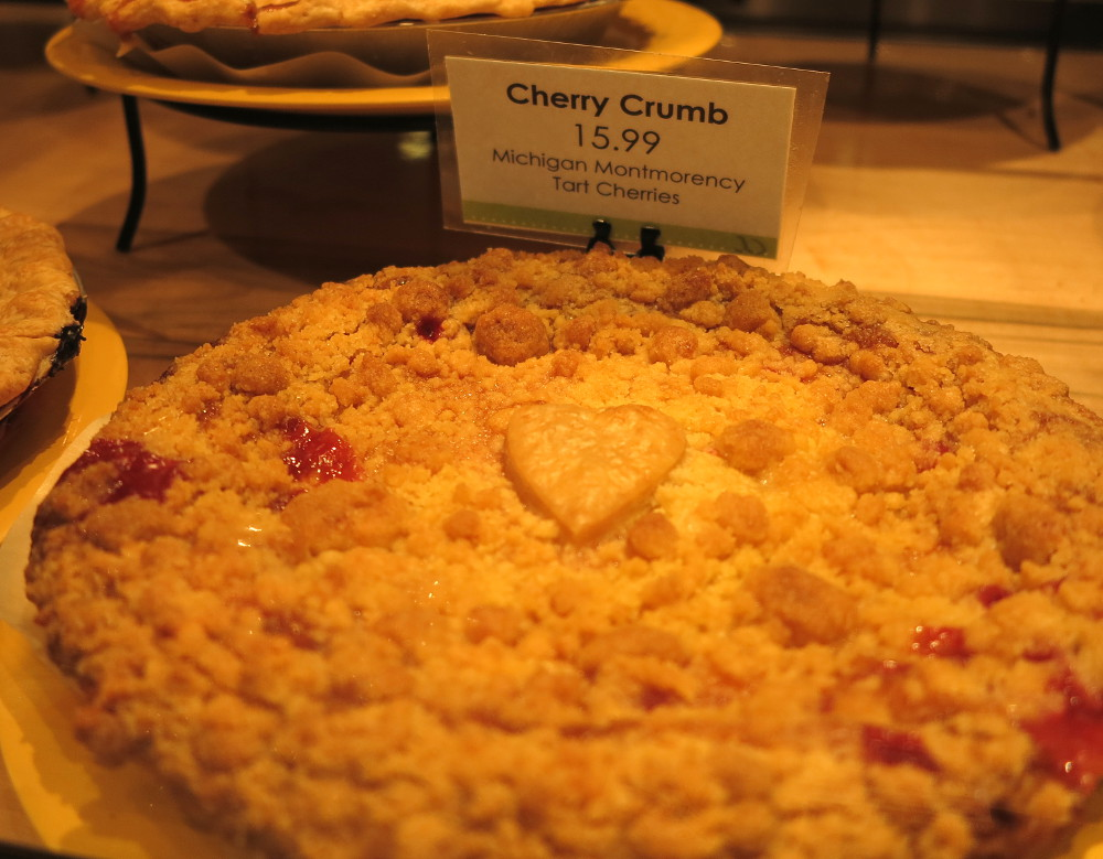 Delicious Cherry Crumb pie at Traverse City pie shop in Traverse City Double-Barrelled Travel