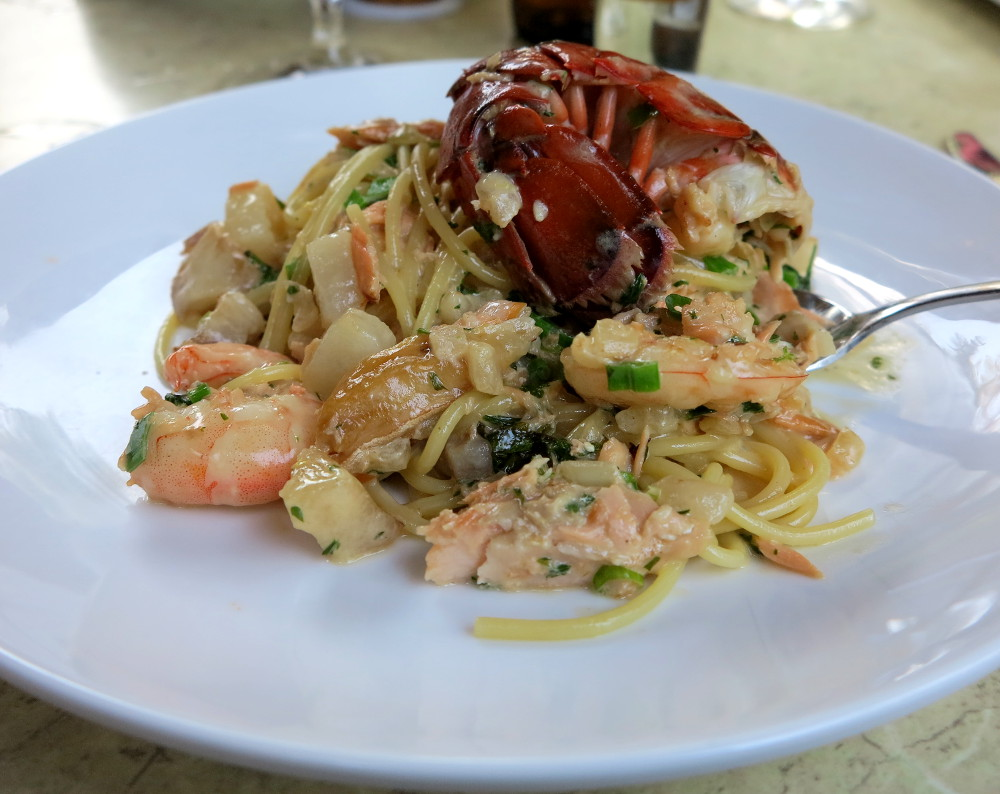 Seafood spaghetti at Nonnas at The Homestead Double-Barrelled Travel