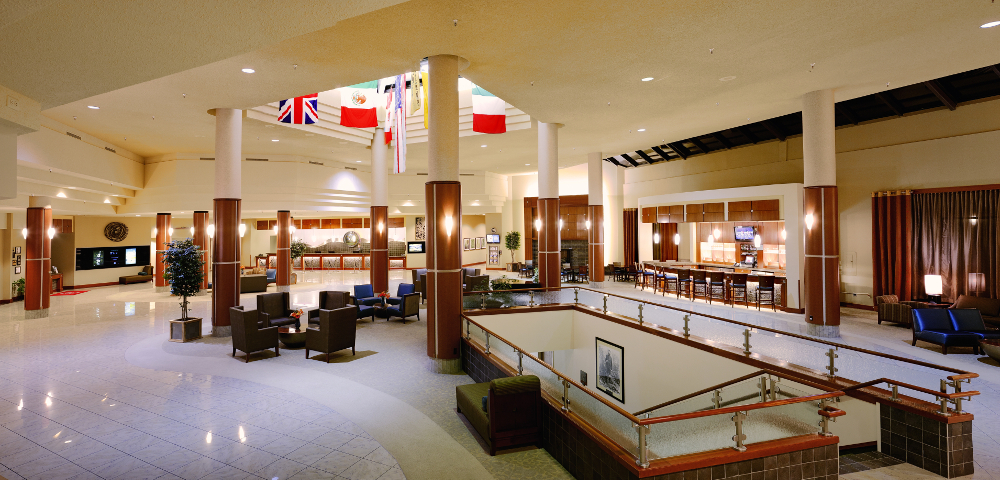 The lobby at the Grand Traverse Resort and Spa Double-Barrelled Travel