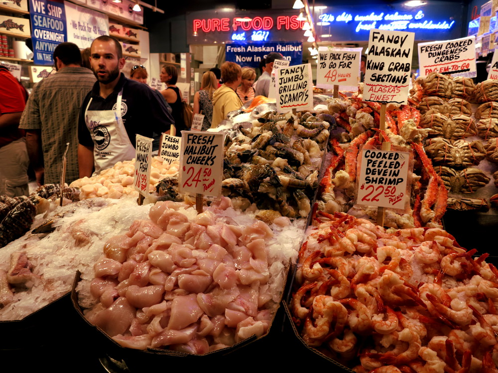 Fresh seafood Pike Place Market in Seattle Double-Barrelled Travel