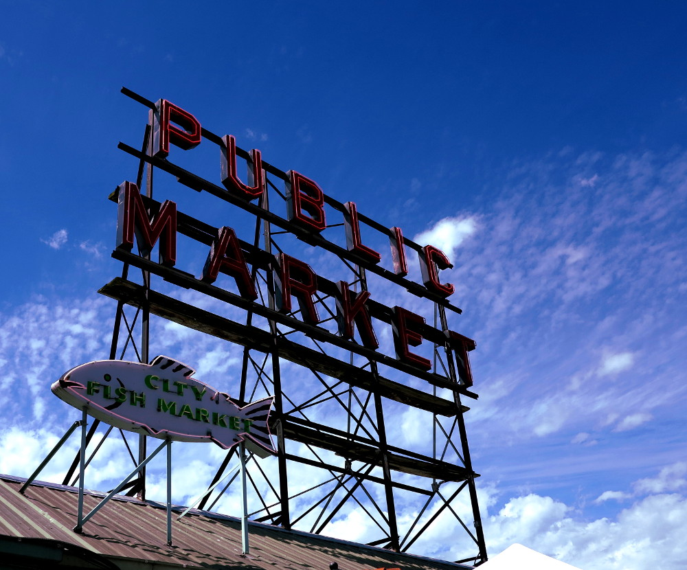 Market sign at Pike Place Market in Seattle Double-Barrelled Travel