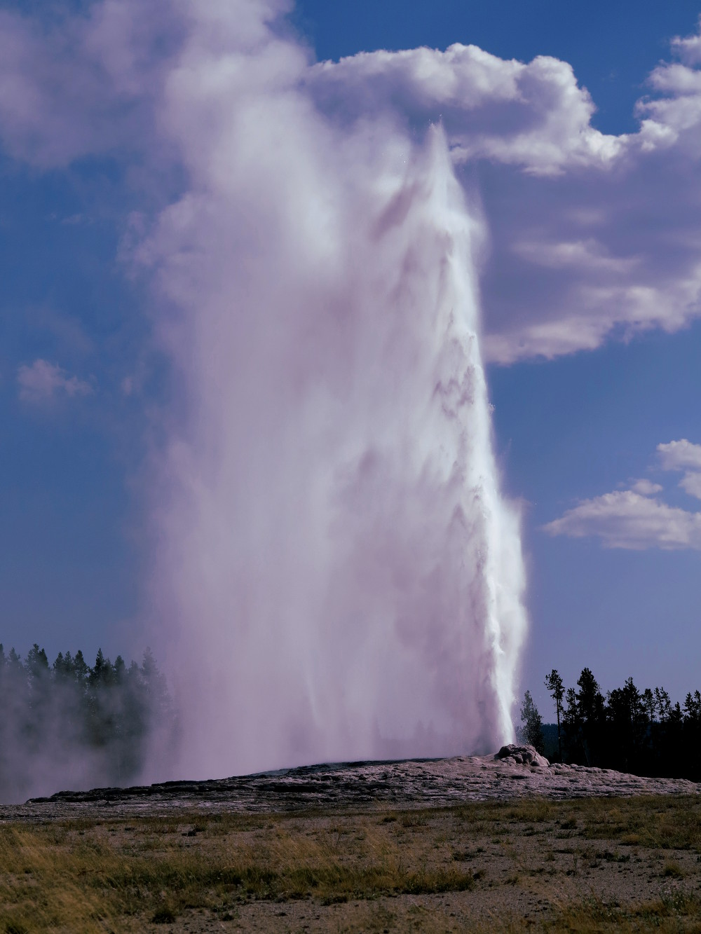 Old Faithful geyser erupting in Yellowstone Double-Barrelled Travel
