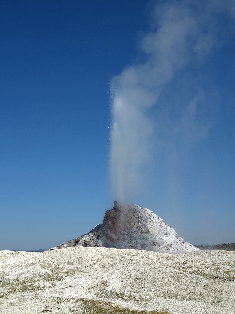 Watching our first geyser erupt at the Mud pots in Yellowstone Double-Barrelled Travel
