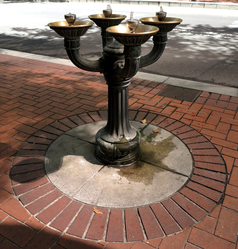 water fountain in Portland Double-Barrelled Travel