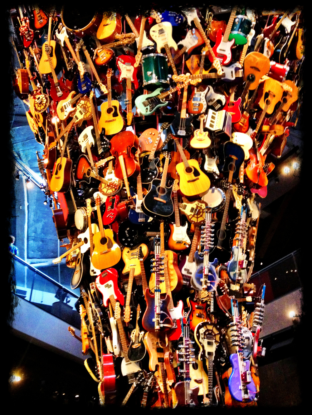 A tower of guitars at at the EMP Museum in Seattle Double-Barrelled Travel