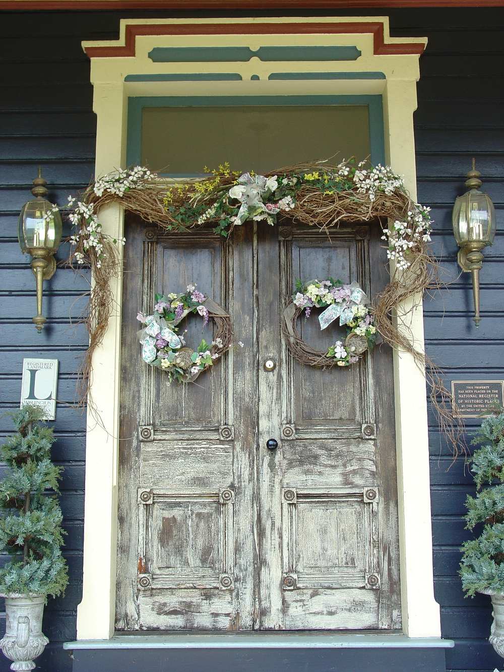 Beautiful front door at a bed and breakfast Double-Barrelled Travel