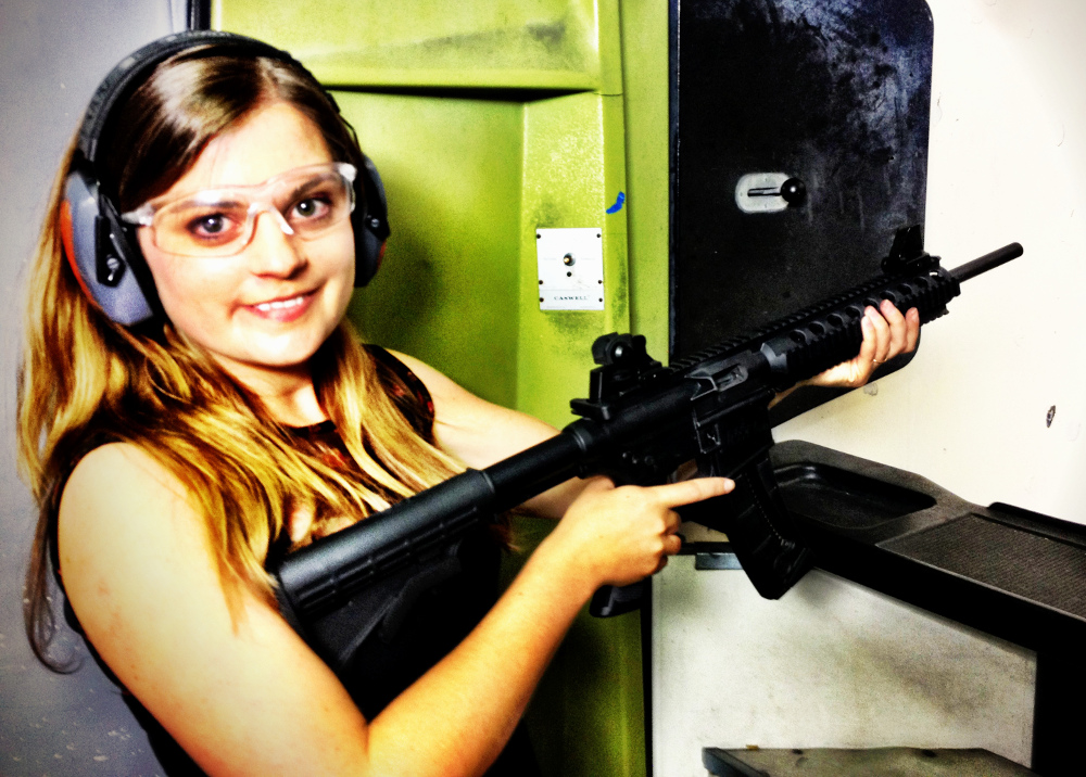 Carmen at the shooting range in Vacaville California Double-Barrelled Travel