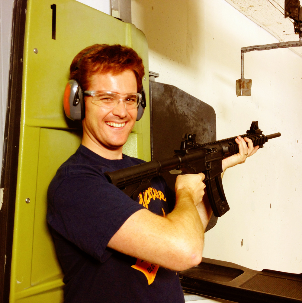 Dave at the shooting range in Vacaville California Double-Barrelled Travel