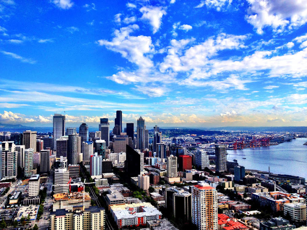 Seattle skyline from the space needle Double-Barrelled Travel
