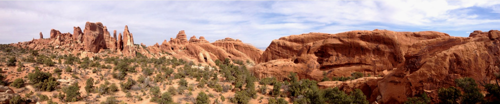 Devils Garden landscape view at Arches National Park Double Barrelled Travel