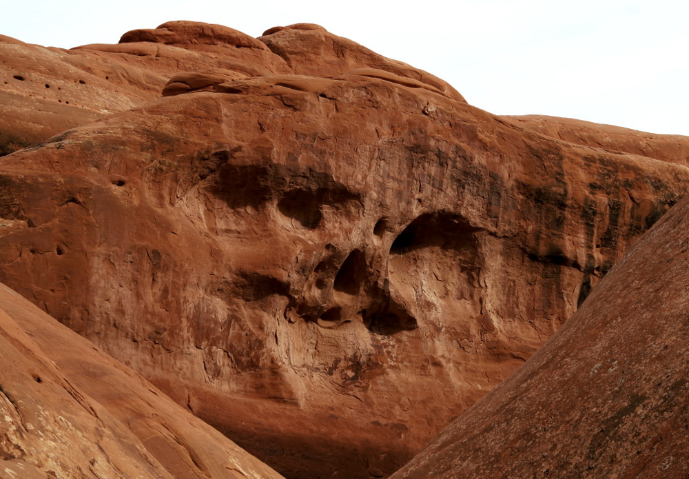 Faces in the rock at Arches National Park Double Barrelled Travel