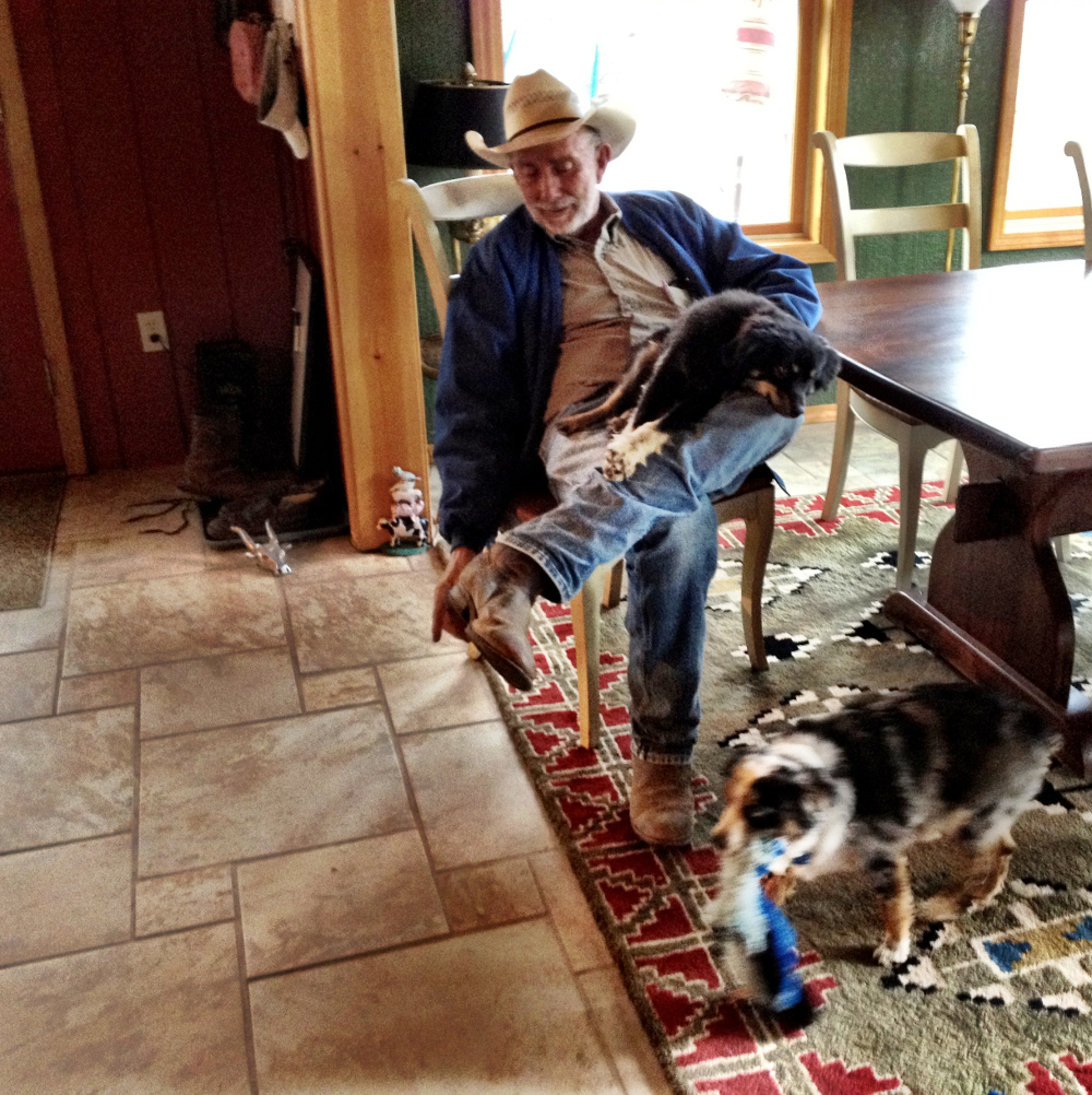 Gerry with some of his dogs on the Hat T ranch New Mexico Double-Barrelled Travel