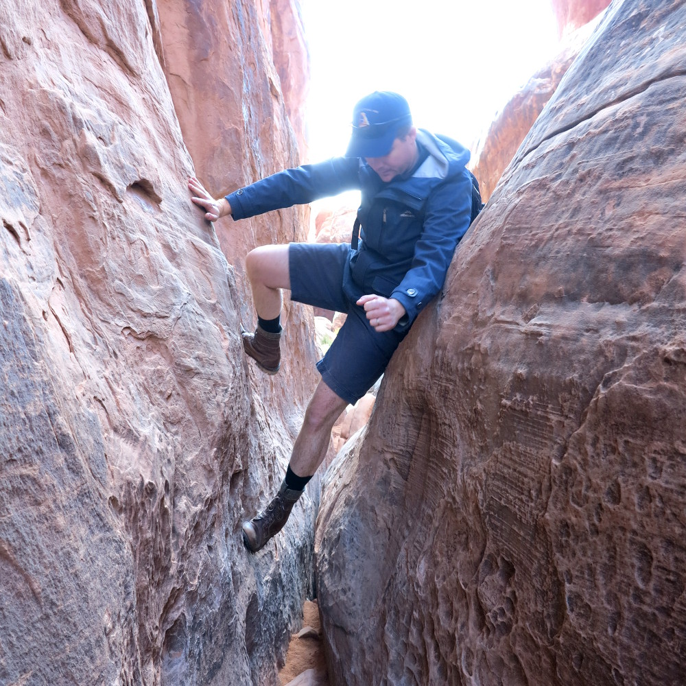 Scambling through the Fiery Furnace in Arches National Park Double-Barrelled Travel