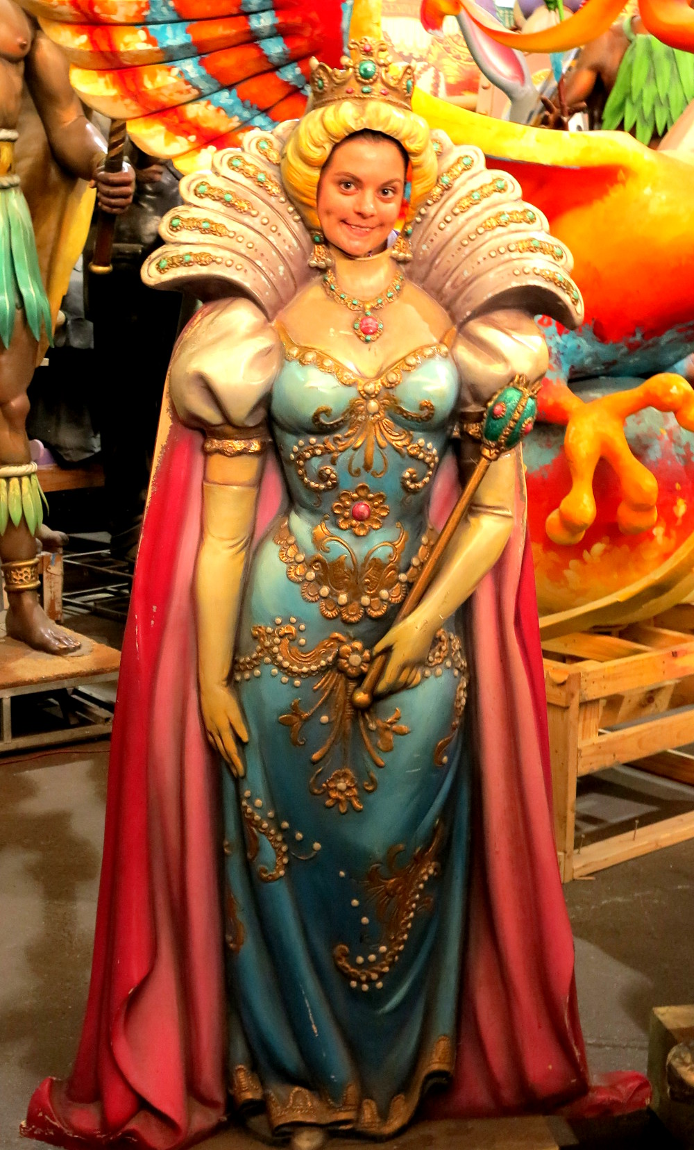 Carmen as a jester at Mardi Gras World New Orleans Double-Barrelled Travel