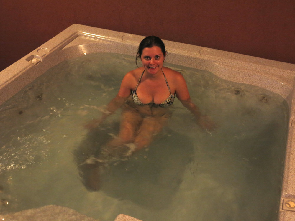 Carmen in the jacuzzi at the Redstone Inn in Moab Double-Barrelled Travel