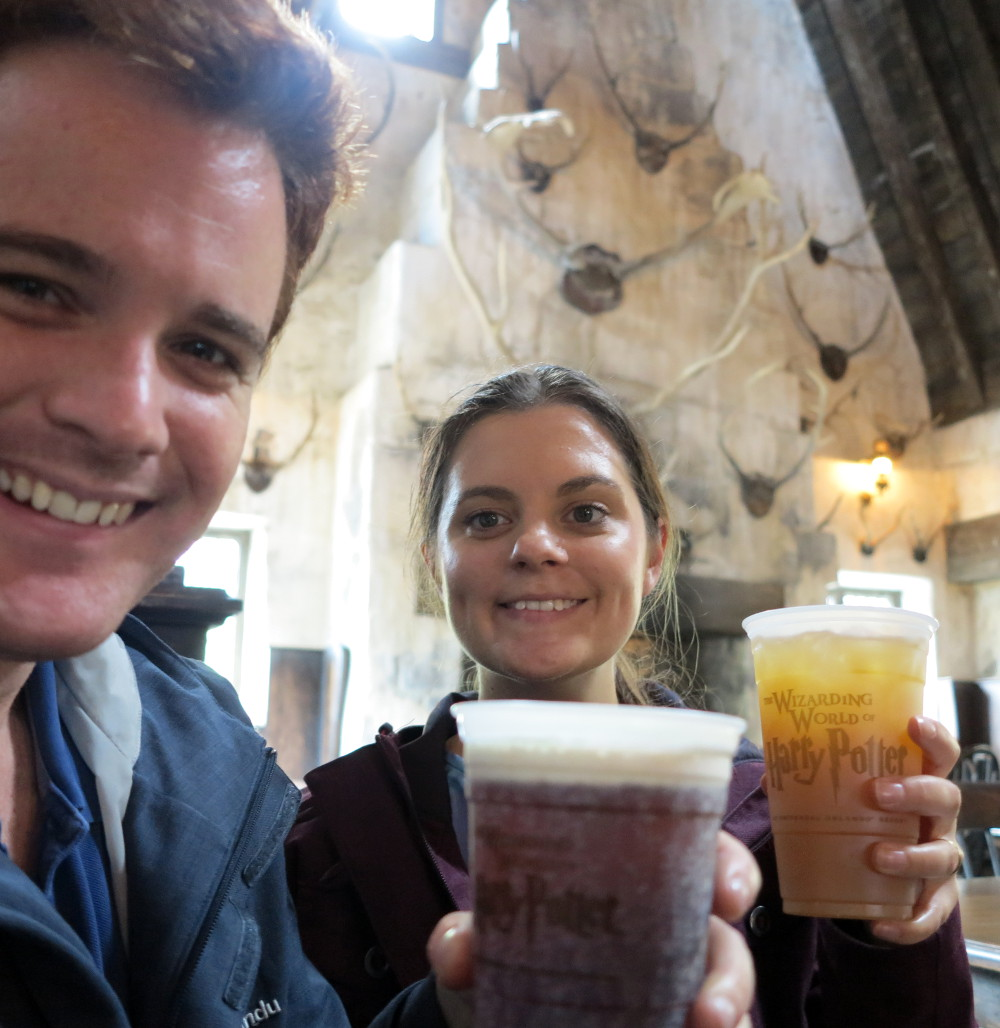 Drinking butterbeer and pumpkin juice at Disneyworld Double-Barrelled Travel