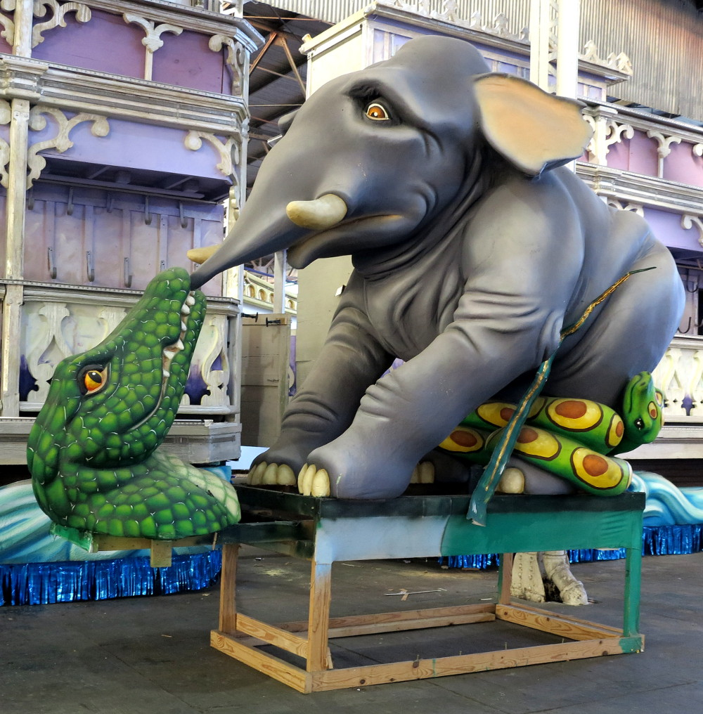 Elephant and crocodile Mardi Gras World New Orleans Double-Barrelled Travel