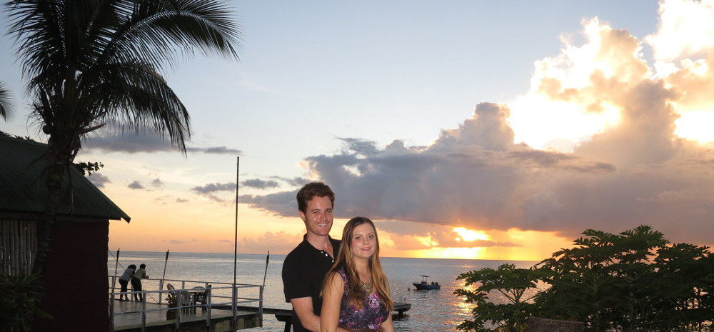 Enjoying the sunset in Dominica Double-barrelled Travel