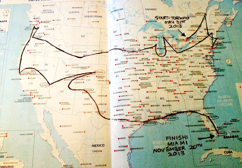 Reflections on travelling the world for two years DBT – North America Travel Map