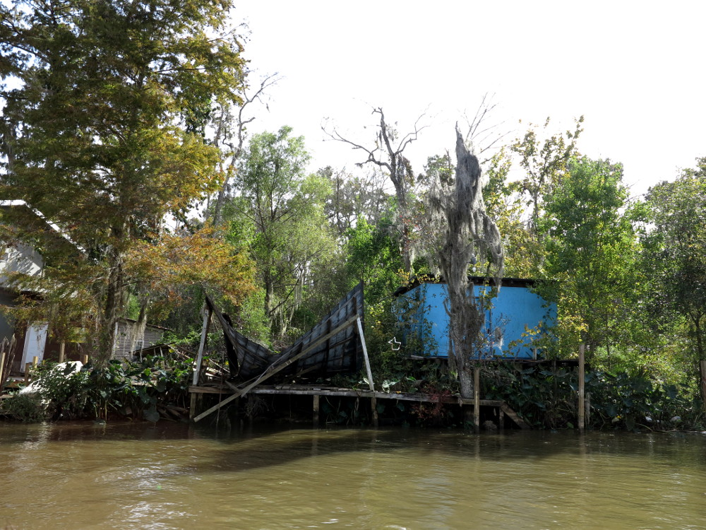 Fishing village housing Cajun Encounters swamp tour Double-Barrelled Travel
