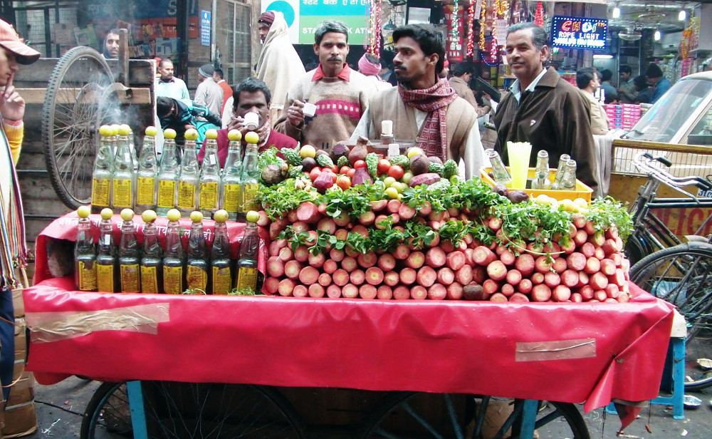 Food stall in Delhi Double-barrelled Travel