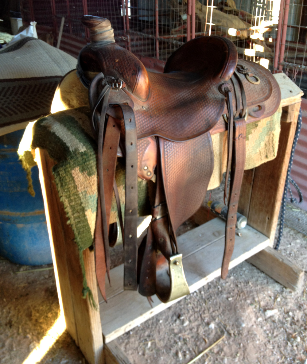 Horse saddle on a Texas Ranch Double-Barrelled Travel
