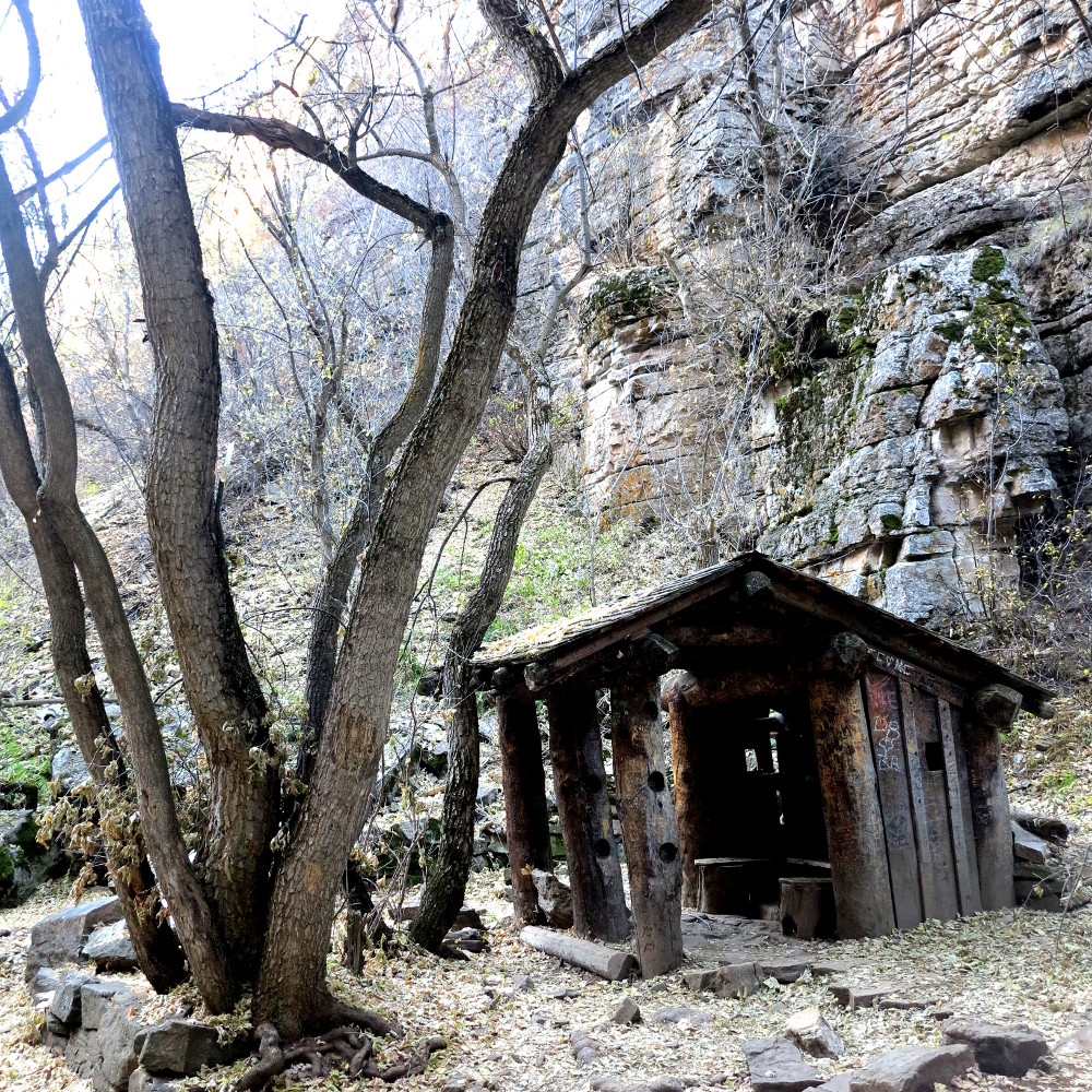 Hut on the Hanging lake hike Double-Barrelled Travel