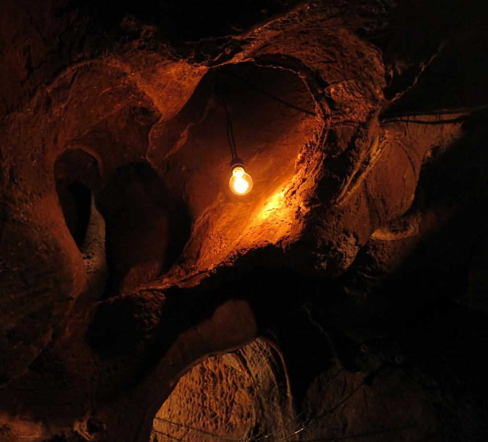 Lightbulb inside Fairy cave Glenwood Caverns Adventure Park Double-Barrelled Travel